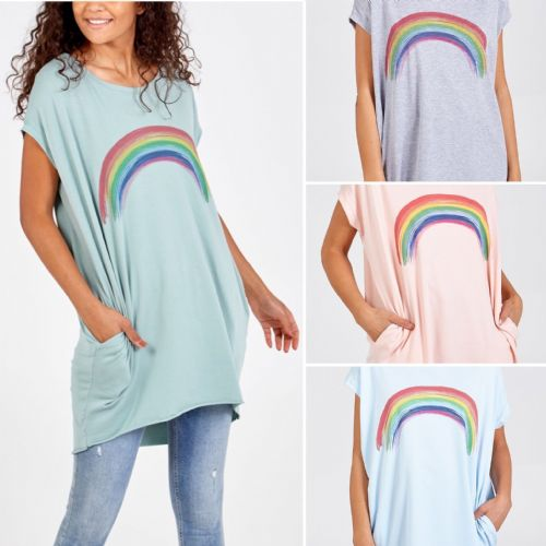 RAINBOW PRINT LOOSE FIT TUNIC TOP WITH POCKETS SIZE UK 10-18